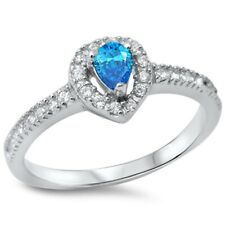 Halo Wedding Engagement Ring 925 Sterling Silver 0.25Ct Blue Topaz Russian CZ