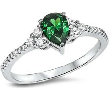 Trendy Wedding Engagement Ring Solid 925 Sterling Silver 0.75Ct Emerald Green CZ