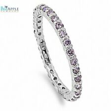 2MM Stackable Full Eternity Wedding Band Ring Soild Sterling Silver Amethyst CZ