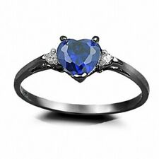 Promise Engagement Ring 925 Sterling Silver 0.50CT Sapphire Black Russian Ice CZ