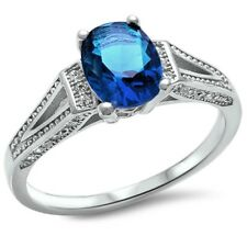 Solitaire Wedding Engagement Ring 925 Sterling Silver 2.60Ct Sapphire Russian CZ