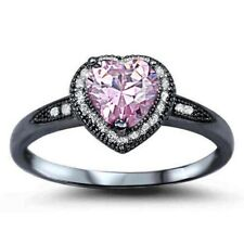Halo Heart Promise Ring Sterling Silver Pink Topaz Black Gold Clear Russian CZ