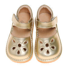 Girl Petal Patent Style Squeaky Shoes Gold Toddler Size 1,2,3,4,5,6