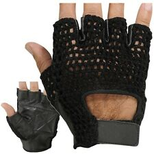 Pro Panther Leather Mesh Weight Lifting Fitness Workout Gym Gloves Black