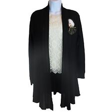 Women Black Cardigan w/ White Floral Lace Blouse Short Sleeve Top w/ Brooch New