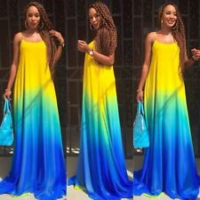 Sexy Lady Summer Boho Maxi Evening Party Dress Beach Long Dress Rainbow Sundress