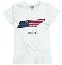 Tennessee State Pride American Flag USA Patriotic Gift Ideas Ladies T-Shirt