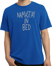 Mens Pigment Dyed T-Shirt Yoga Shirt Namastay In Bed