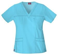 Dickies Scrubs 817455 V Neck Scrub Top Dickies Youtility Jr Fit Icy Turquoise