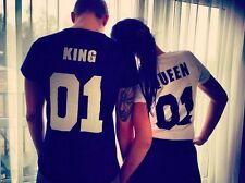 Blouse printing Women Fashion KING QUEEN 01 Men's Short Sleeve Lover T-shirt