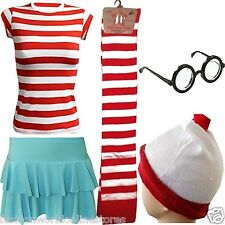 NEW WK WHERE'S WALLY SET RED WHITE HAT AND GLASSES BOOK WEEK DAY FANCY DRESS
