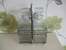 Vintage Double Glass Decanters in Silver Plate Tantalus