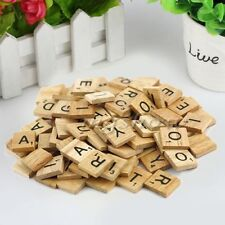 Hot 100 Wooden Alphabet Scrabble Tiles Black Letters & Numbers Crafts Wood BO