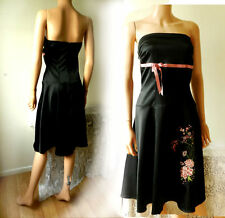 Vintage Dress Chinese Oriental Style Black Silky Dress VGC Exquisite