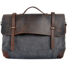 Mens Vintage Leather Canvas bag Messenger Shoulder Handbag Briefcase Satchel Bag