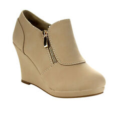Women's Platform Wedge Heel Side Zipper Ankle Booties BEIGE
