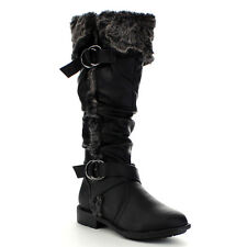 Women's Strappy Low Heel Slouch Knee High Snow Boots BLACK