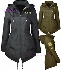 NEW Ladies PLUS size MILITARY RAIN MAC PARKA Womens SHOWER RAINCOAT 8-24 ARMY