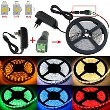 5M 3528/5050/5630 SMD 300 LED White Waterproof Flexible Strip Light+Adapter+DC