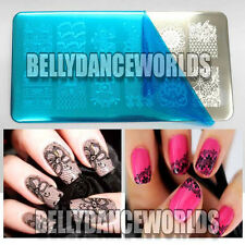 NAIL ART POLISH LACE FLOWER BUTTERFLY FRENCH MANICURE METAL STAMP STAMPING PLATE