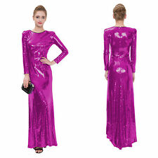 New Hot pink Long sleeve Long formal Evening Prom Party Maxi sequin Women dress