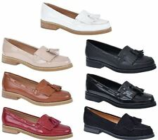 New womens flat slip on fringe pumps smart office loafers shoes