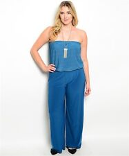 SHOP THE TRENDS -  WOMENS STRAPLESS TEAL WIDE-LEG JUMPSUIT