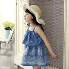 Kids Girls Cotton Dress Toddler Strappy Sleeveless Floral Summer Dress 2-6Y Cute