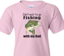 "BASS FISHING Kids Pink Tee ""CAN'T WAIT TO GO FISHING WITH MY DAD"" Kids T-Shirt"