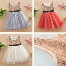 Sequins Girls Kids Toddler Baby Princess Party Pageant Wedding Tulle Tutu Dress