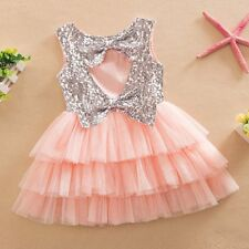 Girls Outfits Dress Kids Sequined Bow Party Pageant Tulle Tutu Cake Dresses 2-7T