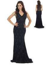 MQ Sexy Black Sleeveless Lace Applique Prom Evening Party Dress Sz 4-16 NWT