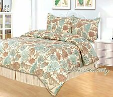 4-pc Comforter Set KING or QUEEN Size Teal SEASHELL STARFISH Coastal Beach House