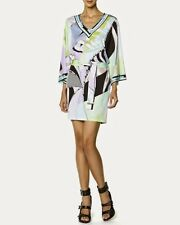 Italian Designer Inspired Green Blue Mauve V-Neck Silk Jersey Tunic Mini Dress