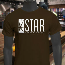 The Flash DC Barry Allen Laboratories Star Labs Mens Brown T-Shirt