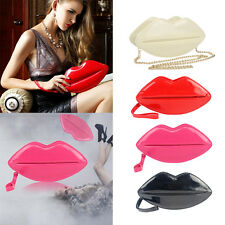 Women Lip Shape Shouder Handbag Leather Evening Party Clutch Bag Purse Chain Bag