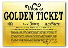 GOLDEN TICKET REPLICA - Shiny Gold Paper Wonka Chocolate Factory Oompa Costume