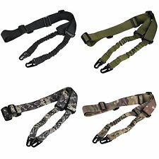 Adjustable Tactical Dual Two 2 Point Sling Rifle Gun Bungee Strap Hook #GY