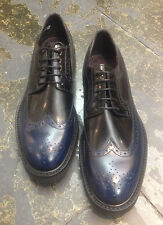 NW Paul Smith shoes blue black leather 114J GRAND elegant wing tip brogue