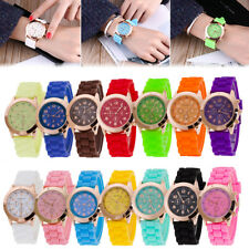 Unisex Modish Geneva Jelly Gel Silicone Rubber Band Analog Quartz Wrist Watch