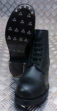 Genuine British Forces Hobnail Ammo Marching Boots Plain Leather Black - NEW