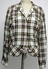 Jones New York Womens Plaid Linen Casual Top Long Sleeves Roll-up Cuff Tie Front