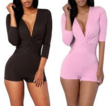 Sexy Womens Pink/Black Deep V Half Sleeve Pants Bodycon Jumpsuit Romper Clubwear