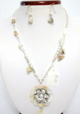 Sea Shell Necklace & Earring Set. Silvertone W/ Pearls and Clear Beads-NEW
