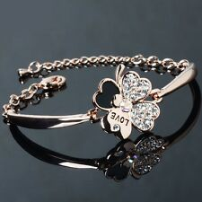 New Adjustable Four Leaf Clover Crystal Rhinestone Gild Colorfast Alloy Bracelet