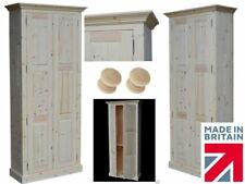 Traditional 200cm Tall Solid Pine Pantry-Linen-Bathroom-Kitchen Storage Cabinet