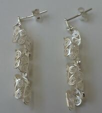 925 Sterling Silver Filigree Hand Crafted Twisted Earrings from Malta