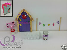 Fairy Door Starter Set Door Fence Sign Bunting Toadstool, Fairy Dust & Gift Bag