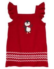 Gymboree Penguin Chalet Red Sweater Dress Jumper Holiday Christmas 3 - 6 mos NWT