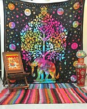 NEW INDIAN ELEPHANT TREE OF LIFE WALL HANGING HIPPIE TAPESTRY BOHEMIAN BEDSPREAD